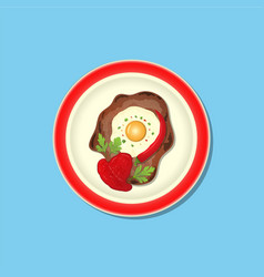 Fried meat with ketchup vector