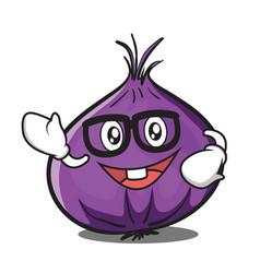 Geek red onion character cartoon vector