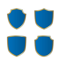 Gold-blue shield shape icons set bright logo vector