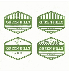 green hills from farm product grunge rubber vector image
