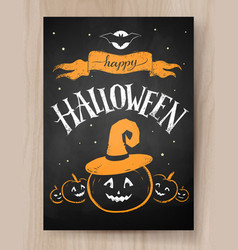 halloween design with lettering and pumpkin vector image