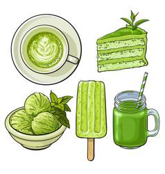 Hand drawn food with matcha tea - ice cream cake vector
