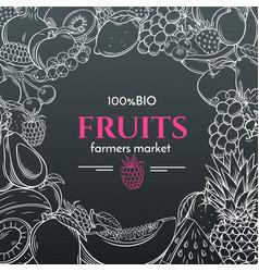 Hand drawn fruits for farmers market menu vector