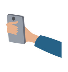 Hand holding smartphone technology digital vector