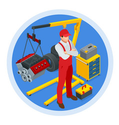 isometric car maintenance vehicles diagnostics and vector image