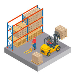 isometric concept of a warehouse with staff vector image