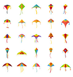 Kite flying festival surf icons set flat style vector