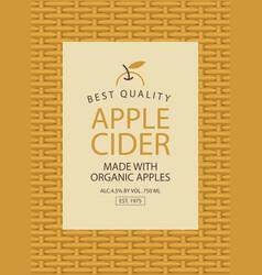 Label for apple cider on the basket background vector