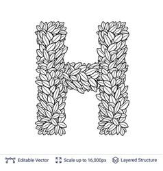 letter h symbol of white leaves vector image