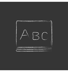Letters abc on blackboard Drawn in chalk icon vector image