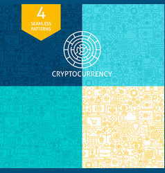 line cryptocurrency patterns vector image