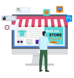 Logistics worldwide b2b sell on store web vector