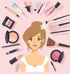 Makeup products beautiful vector