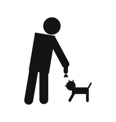 Man and dog icon vector