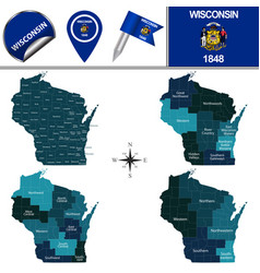 Map wisconsin with regions vector