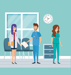 Medical staff in consulting room vector
