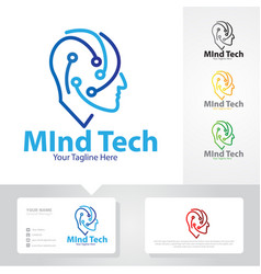 Mind tech logo designs vector