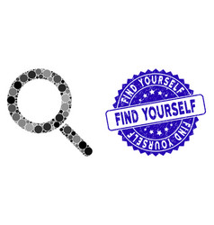 Mosaic locate icon with textured find yourself vector