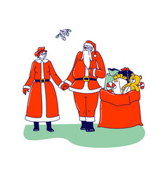 mr and mrs claus characters happy santa and his vector image