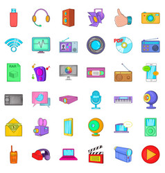 Multimedia mean icons set cartoon style vector