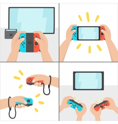 New switching gaming system portable console vector