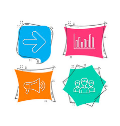 Next bar diagram and megaphone icons group sign vector