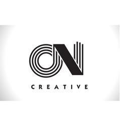 On logo letter with black lines design line letter vector