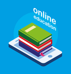 Online education with smartphone vector