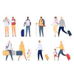 people travel tourists couple families and kids vector image