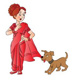 Pet dog pulling womans saree vector