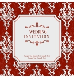 Red 3d Vintage Invitation Card with Floral vector
