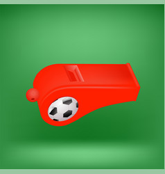 red footbal whistle for feferee on green vector image