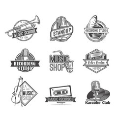 retro music emblem vector image