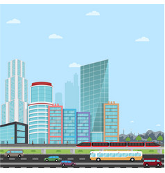 Road in a modern city view skyscraper business vector