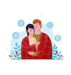 Romantic young cute couple wrapped in plaid vector