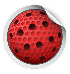 round sticker with lacrosse ball vector image