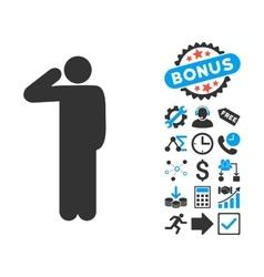 Salute Pose Flat Icon with Bonus vector image
