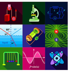 School science program icons set flat style vector