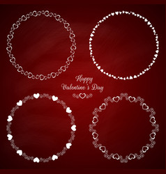 set 4 circle cute frames for st valentine vector image