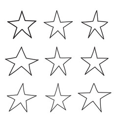 set hand drawn star vector image