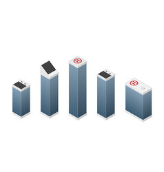 set isometric modern white skyscrapers vector image