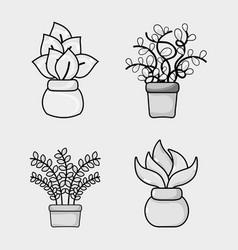 set natural plants house decoration vector image