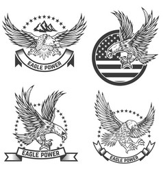 Set of coat of arms with eagles design elements vector
