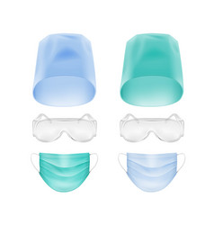 set of medical face ear loop mask cap glasses vector image