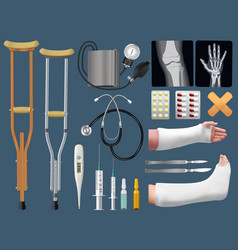 set of medicine surgical traumatology objects vector image