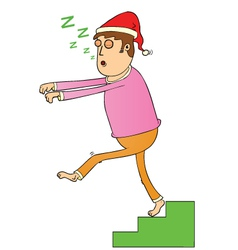 Sleep walking on stair vector image