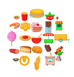 Street sweets icons set cartoon style vector