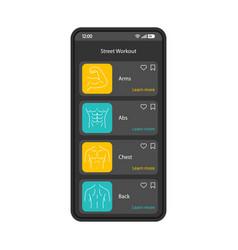 Street workout app smartphone interface template vector