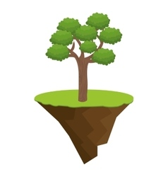 Terrain with grass and tree isolated icon vector