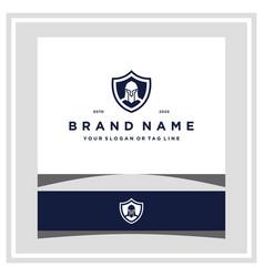 Warrior shield logo design vector